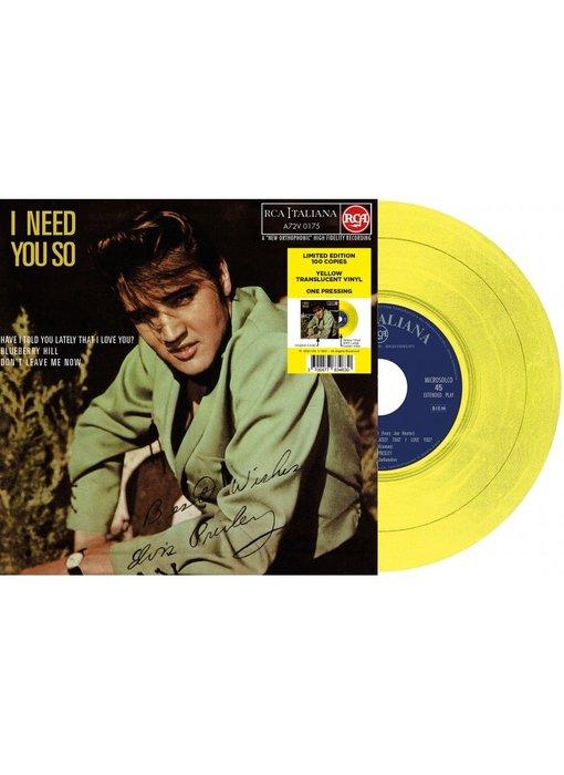 Elvis Presley I Need You So Italian Edition Re-Issue Yellow Translucent Vinyl