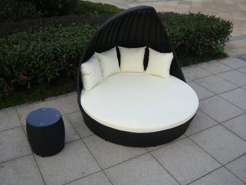 Loungebed Tuin Rond.Ligbed Fantasy Zwart Vhcollection