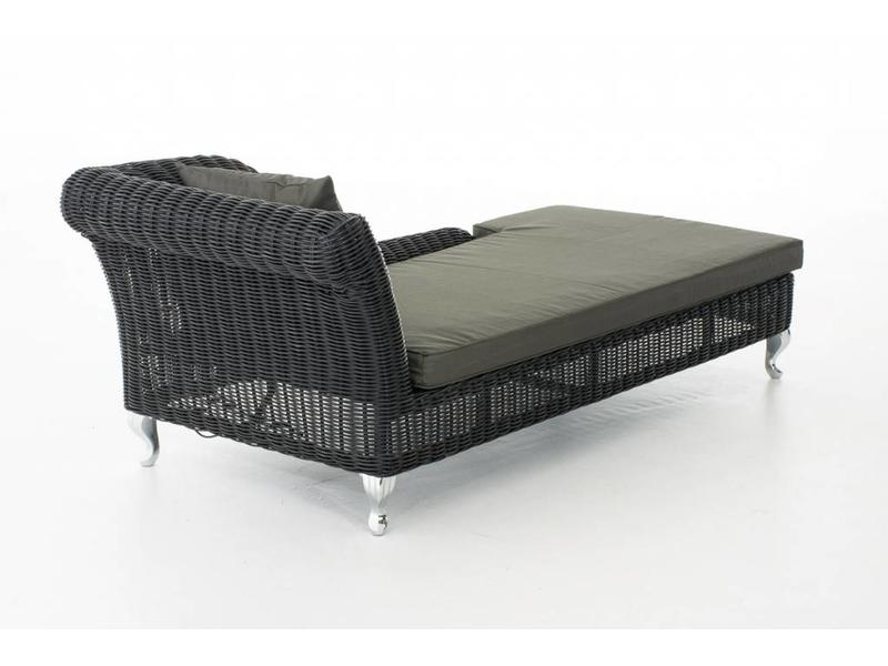 "Chaise longue "" Savannah Zwart-Antraciet """