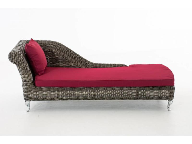 "Chaise longue "" Savannah Grijs-Rood """