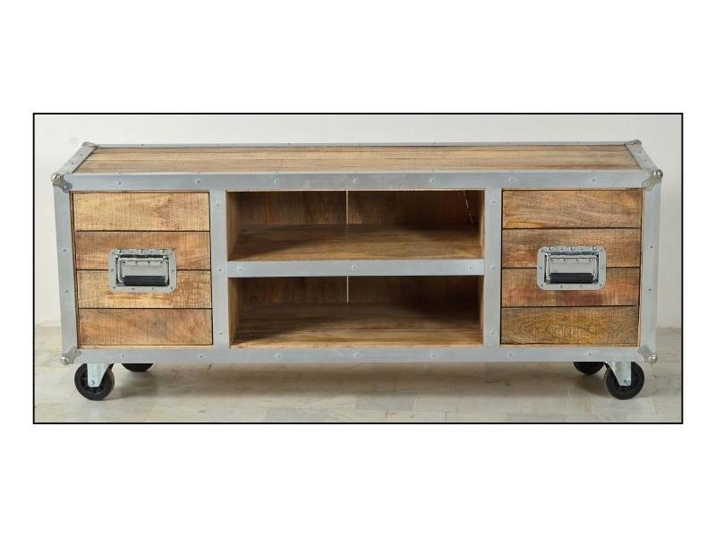 Tv Meubel Wieltjes : Tv meubel wieltjes industrieel tv meubel bezons van recycled teak