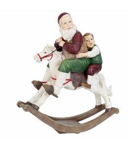 Clayre & Eef Weihnachtsmann auf Schaukelpferd 45x18x50