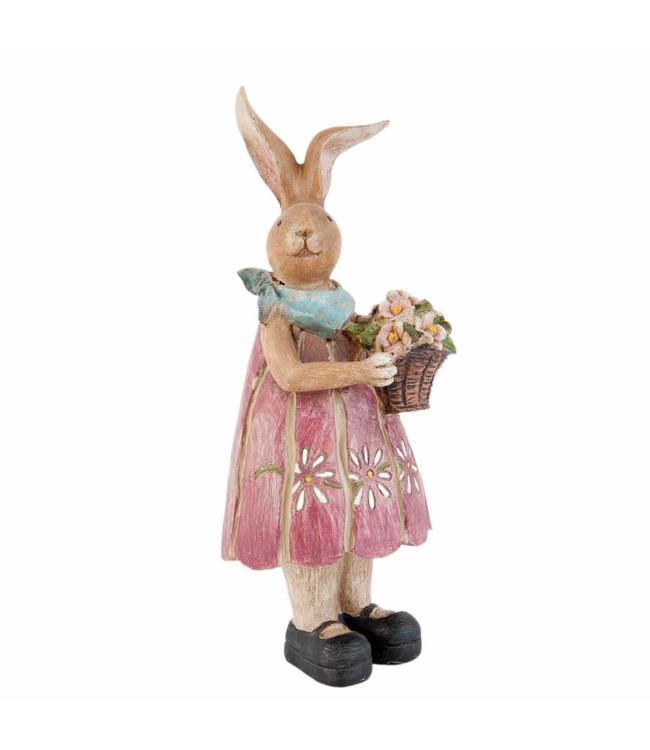 Osterhasenfrau mit Blumenkorb
