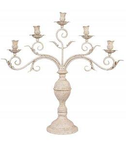 Kerzenleuchter für 5 Kerzen, Altweiß Vintage
