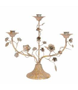 Kerzenleuchter mit Rosen, Vintage