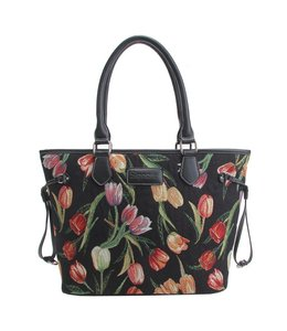"Gobelin Handtasche ""Tulpen"" schwarz"