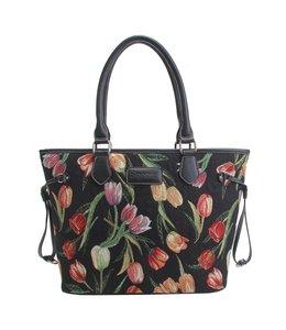 "Signare Gobelin Handtasche ""Tulpen"" schwarz"