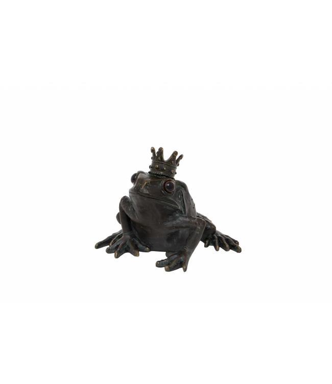 frosch mit krone  schöne deko am gartenteich  vintage