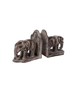 """Buchstützen-Set """"Elefanten"""" Metall, Antik-Finish"""