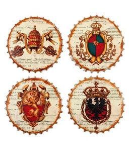 """Glasuntersetzer """"Wappen"""" Keramik, 4er-Set"""