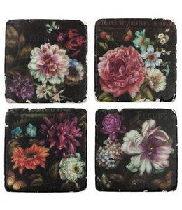 "Glasuntersetzer Vintage Glasuntersetzer Keramik ""Nostalgie Blumen"", 4er-Set"