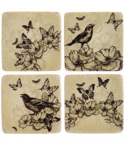 "Glasuntersetzer ""Vögel & Schmetterlinge"" Keramik, 4er-Set"