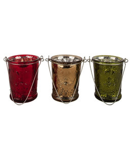 Teelichthalter Rot-Gold-Grün, 3er-Set
