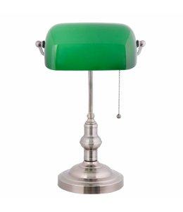Klassische Schreibtischlampe (Bankerlampe) Nickel