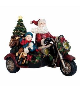 """Weihnachtsmann Dekofigur """"Motorrad"""" 29x23 Vintage"""