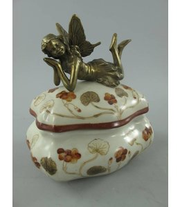 Porzellanschale mit Engel aus Messing
