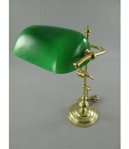 Bankerlampe Messing, Schirm grün