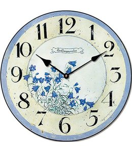 Wanduhr Vintage, Blumen, Alt-blau, Antik-Patina