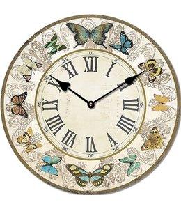 "Wanduhr ""Schmetterlinge"" ∅ 29 Vintage"