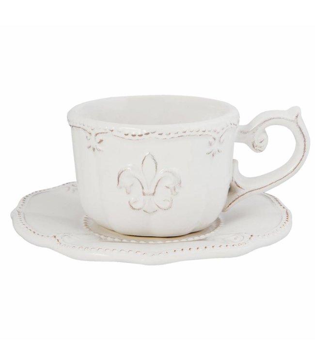 """Kaffeetasse mit Untertasse """"Französische Lilie"""""""