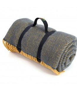 "Tweedmill Picknickdecke ""Polo"" HB Navy & Mustard"