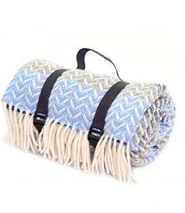 "Tweedmill Picknickdecke Polo mit Leder-Trageset ""Ripple Blue Slate"""