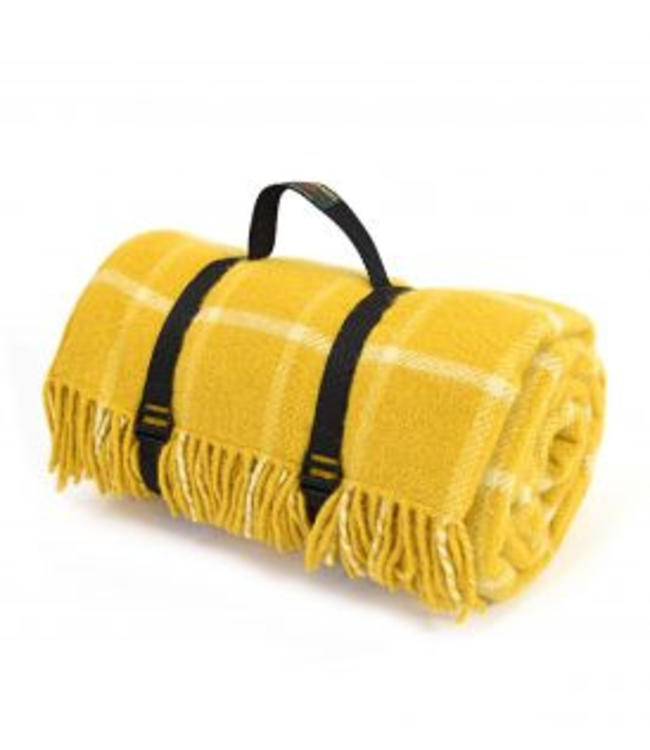 "TWEEDMILL Picknickdecke Polo mit Trageset ""Check Yellow"""