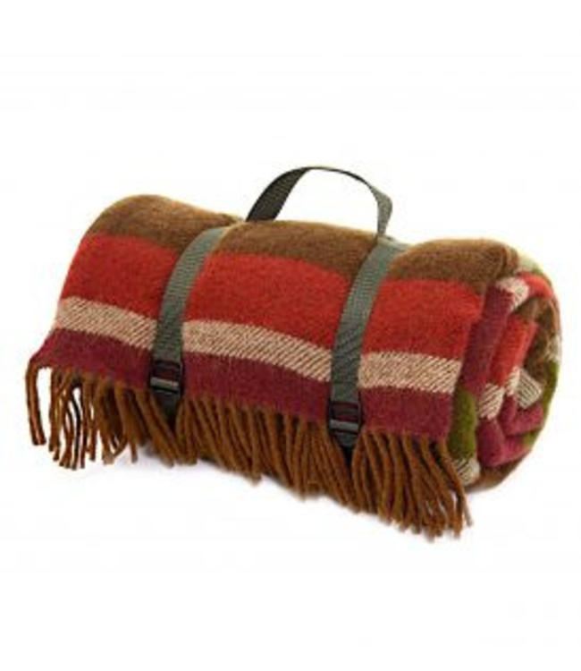 "TWEEDMILL Picknickdecke Polo mit Leder-Trageset ""Country Stripe, Olive"""