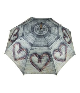 Regenschirm mit Teakholz-Zweigen in Herzform