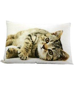 Kissen Vintage Kissenhülle mit Katzenmotiv 30x50