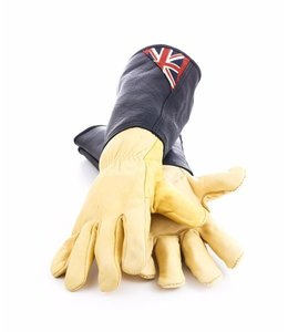 "Gartenhandschuhe Vintage Gartenhandschuhe ""Union Jack"" mit Lederstulpe - extra stark"