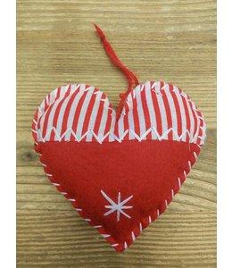 Weihnachtsanhänger Herz Baumwolle - 4er Set