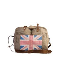 """Englische Canvas-Tasche """"Great Britain"""" mit Leder"""
