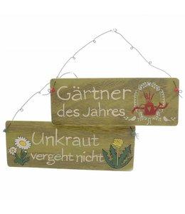 """Dekoschild Landhaus Schilder-Set """"Unkraut vergeht nicht"""" & """"Gärtner des Jahres"""""""