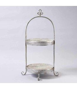 Etagere Vintage Große Metall-Etagere, Höhe 74 cm, silber