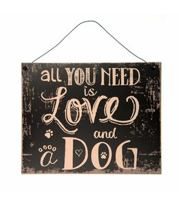 """Clayre & Eef Dekoschild """"All you need is Love and a Dog"""""""