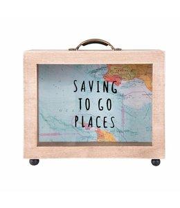 """Spardose """"Saving to go Places"""" Holz"""