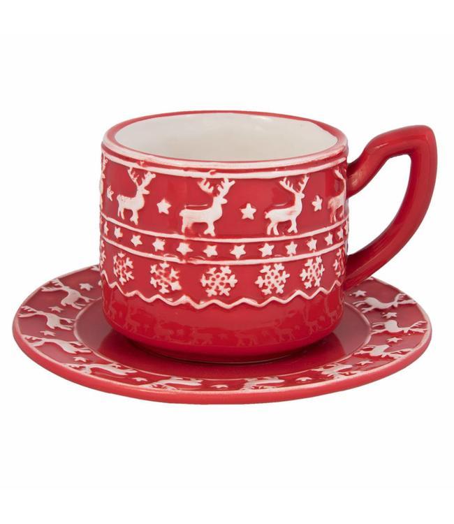 """Kaffeetasse mit Untertasse """"Nordischer Winter"""""""