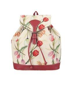 """Vintage Rucksack für Damen """"Tulpen"""" Weiß"""