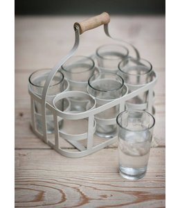 Glasträger und 6 Gläser, grau
