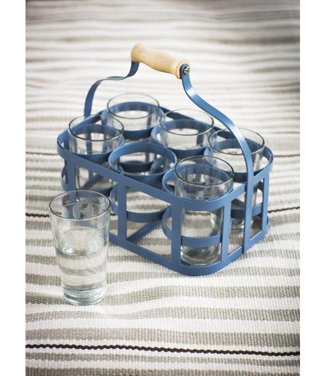 Glasträger und 6 Gläser, blau