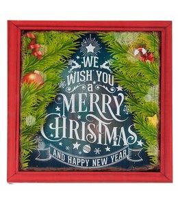 "Weihnachtsschild Holz ""Merry Christmas"" 30x30 Vintage"