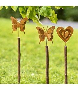 Gartenstecker Schmetterling oder Herz