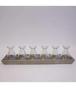 Tablett aus Holz mit 6 Vasen, Vintage