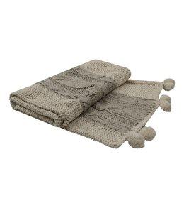 Wolldecken Vintage Wolldecke mit Poms Landhaus 170x130