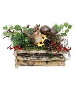 Herbstdeko Vintage Birkenkiste mit Vogel und Pilzen