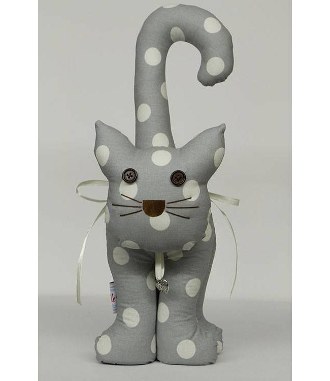 Türstopper Katze, silber mit weißen Punkten