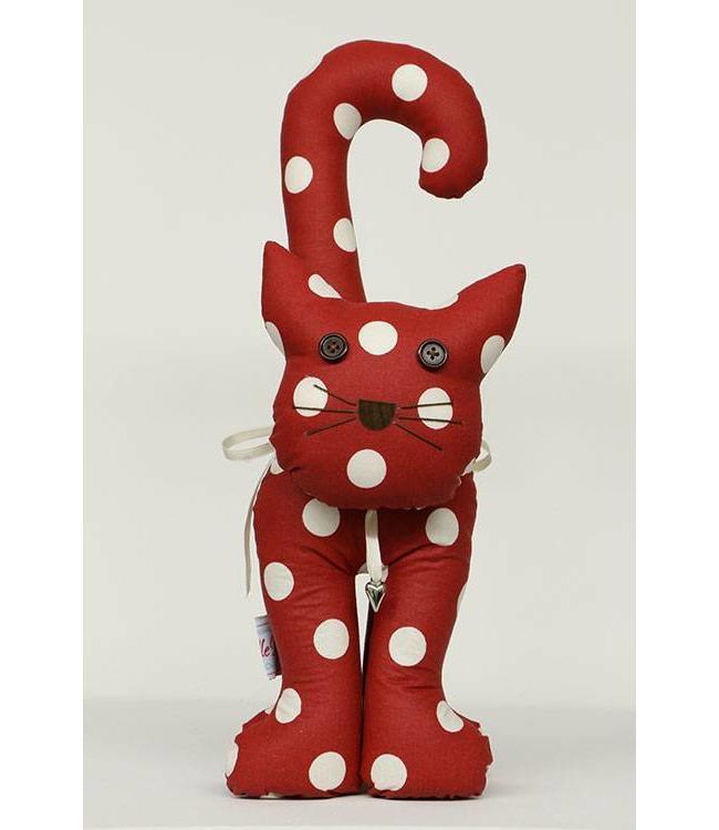 Türstopper Katze, rot mit weißen Punkten