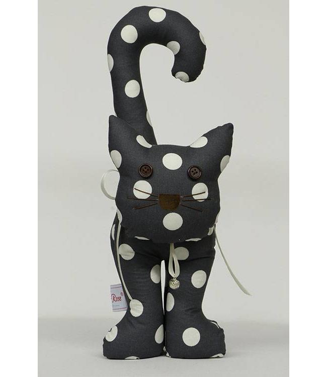 Türstopper Katze, dunkelblau mit weißen Punkten