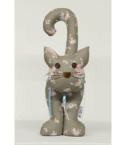 Türstopper Katze, braun mit Blumen